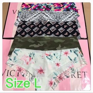 PACK OF 5 VICTORIA'S SECRET PINK NO SHOW HIPSTER